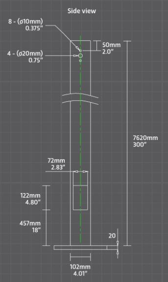 4 X 4 SQUARE STEEL POLE - 25FT